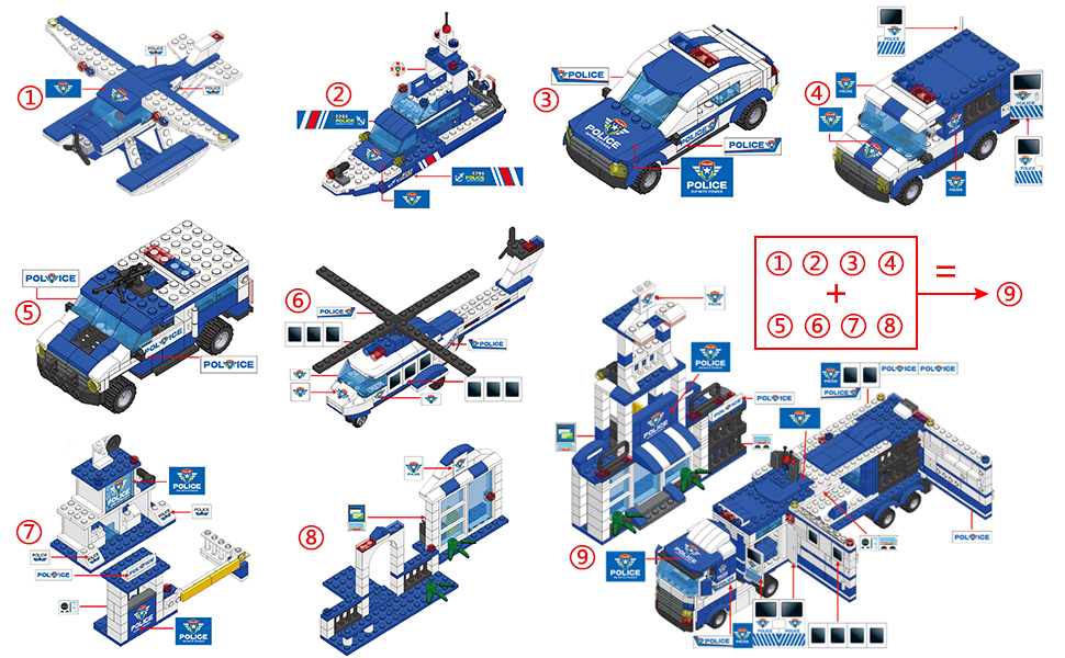 WishaLife 1115 Pieces City Police, City Station Building Sets, 8 in 1  Mobile Command Center Building Bricks Toy with Cop Car & Patrol Vehicles  for