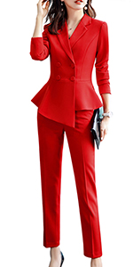 red pant suits for women