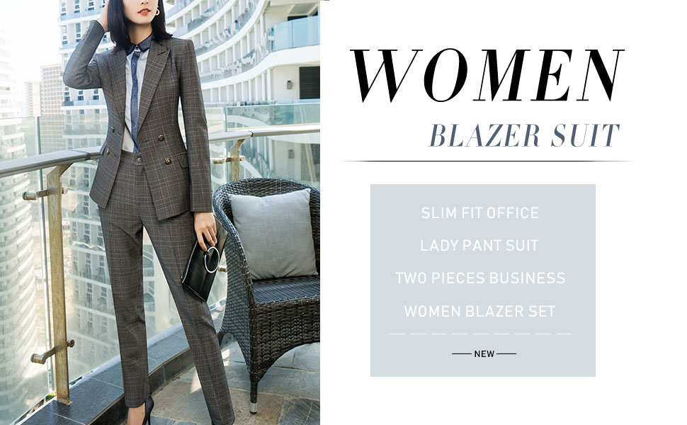 Womens Two Piece Plaid Suit Set 3//4 Sleeve One Button Blazer Jacket and Pants