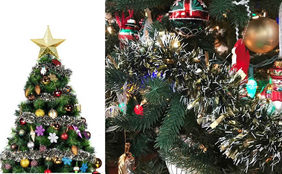 Bright metallic tinsel decorate your Christmas trees, windows, doorways,  wall, stair rail, lamp posts, garage doors and so on. - Amazon.com: SANNO 3 Pcs 6.6 Ft Christmas Tinsel Garland, Thick And