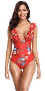 Flounce Ruffle One Piece Swimsuit