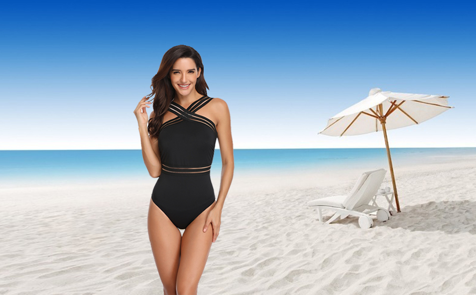 High Neck One Piece Swimsuits for Women