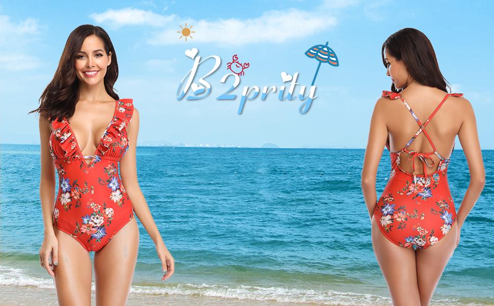 Women's Flounce Ruffle One Piece Swimsuit