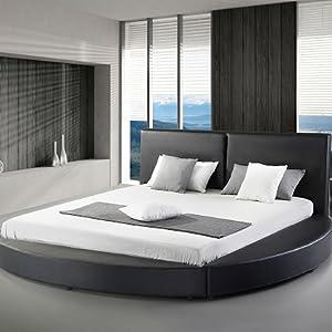 Amazon Com Greatime B1159 Modern Round Bed Queen Black