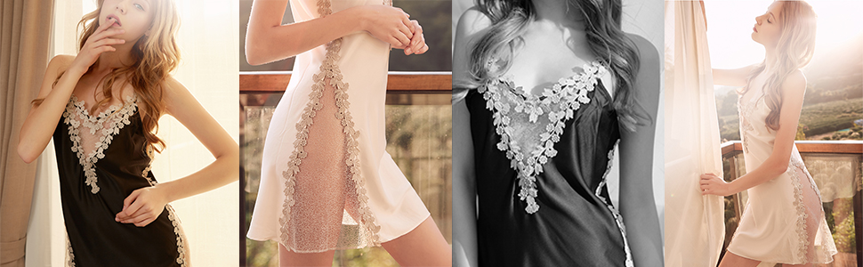 Women Chemise Lingerie Sexy Nightie Full Slips Lace Babydoll Sleepwear Dress