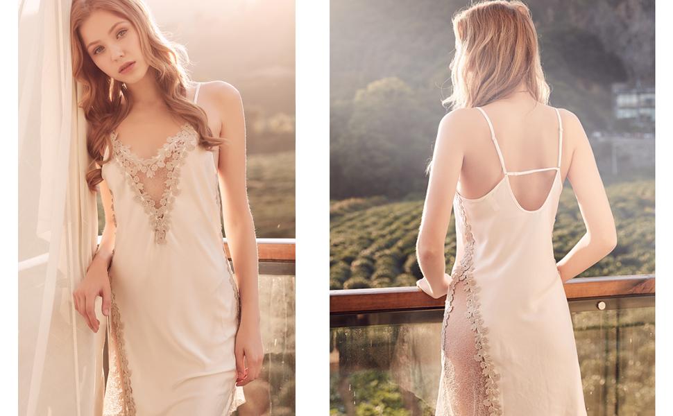 sexy lingerie lace babydoll v neck sleepwear strap chemise