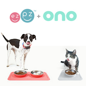 Ono Good Bowl + Great Bowl - Ezpz Mini Mat (Blue) - 100% Silicone Suction Plate With Built-in Placemat For Infants + Toddlers - First Foods + Self-Feeding - Comes With A Reusable Travel Bag