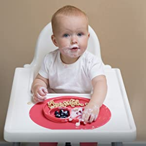 ezpz Mini Mat - One-piece silicone placemat + plate - Ezpz Mini Mat (Blue) - 100% Silicone Suction Plate With Built-in Placemat For Infants + Toddlers - First Foods + Self-Feeding - Comes With A Reusable Travel Bag