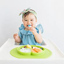 Promotes Independence - Ezpz Mini Mat (Blue) - 100% Silicone Suction Plate With Built-in Placemat For Infants + Toddlers - First Foods + Self-Feeding - Comes With A Reusable Travel Bag
