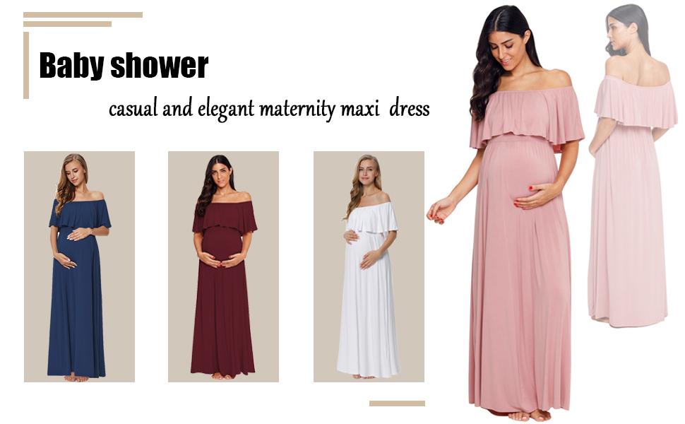 403b5f2553d Ecavus Women s Off Shoulder Ruffle Trim Maternity Maxi Dress for Baby Shower