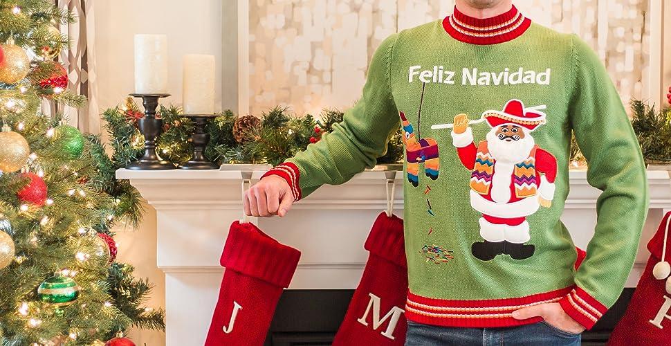 Feliz Navidad Cristmas.Festified Men S Feliz Navidad Ugly Christmas Sweater In Green
