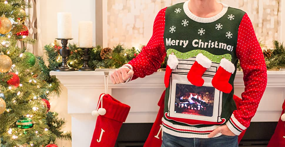 Festified Men S Ipad Tablet Fireplace Ugly Christmas