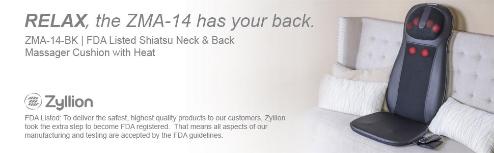 Zyllion Back Neck Massager Massage Cushion Pad Chair Shiatsu Heat Home Office Car Kneading