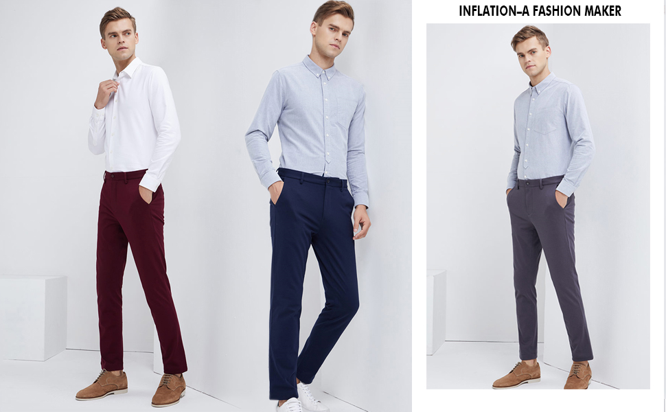 Inflation Men S 100 Cotton Slightly Stretchy Slim Fit Casual