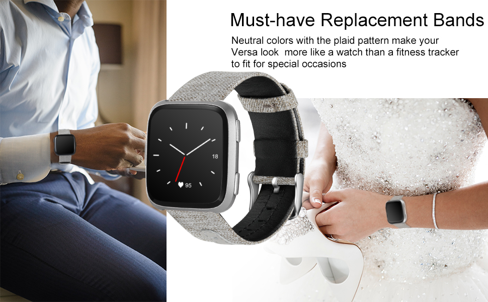 people wear canvas & leather bands for Fitbit Versa on special occasions