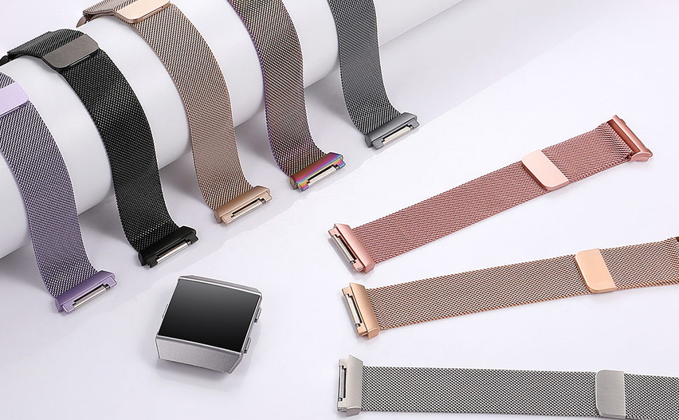 fitbit ionic bands silver rose gold pink lavender colorful black charcoal champagne