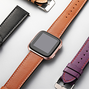 brown leather band with rose gold versa smart watch is perfect and elegant