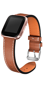 fitbit leather versa bands for women men large small brown