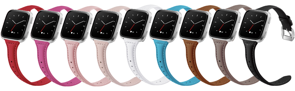 various slim leather bands for fitbit versa