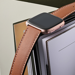 this leather band is seamlessly connected to the versa watch with stainless steel pins levers