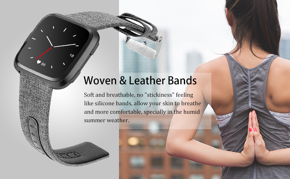 fitbit versa bands band women leather fit bit pack