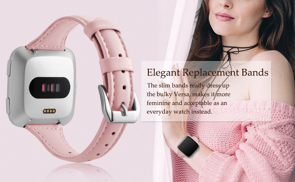 Lady wear an elegant band for Fitbit Versa