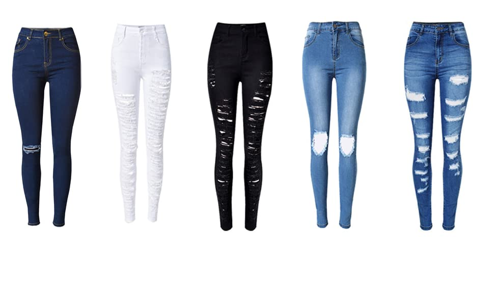 bbf4f6b5f OLRAIN Womens Long Jeans Destroyed Ripped Hole Trousers Denim Pants ...