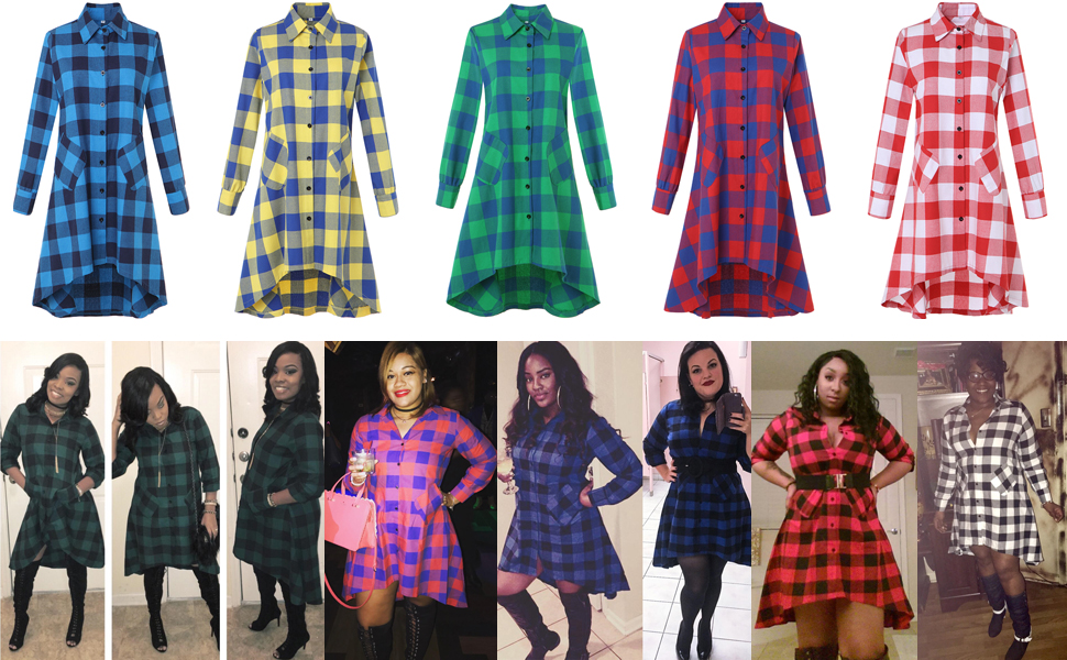 596401953847 Womens Single Breasted Plaids Irregular Hem Casual Lapel Collared Shirt  Dress