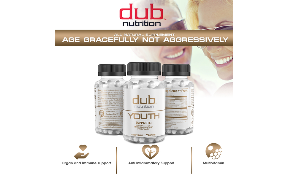 dub nutrition youth anti aging inflammatory immune boost multi vitamin sensoril pills supplement