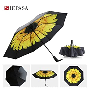 Travel Umbrella Windproof-Vintage Deep Forest with Maple Leaf,Durable Folding Compact Umbrella for Outdoor Rainy Use Auto Open and Close Button