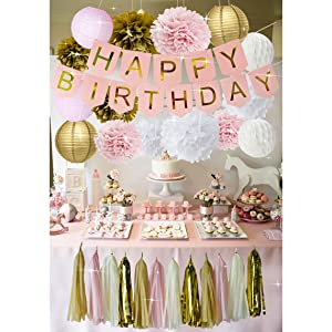 Amazoncom Pink And Gold Birthday Party Decorations Happy Birthday
