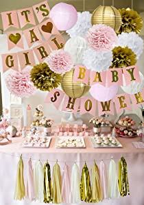 Amazon Com Pink And Gold Baby Shower Decorations For Girl
