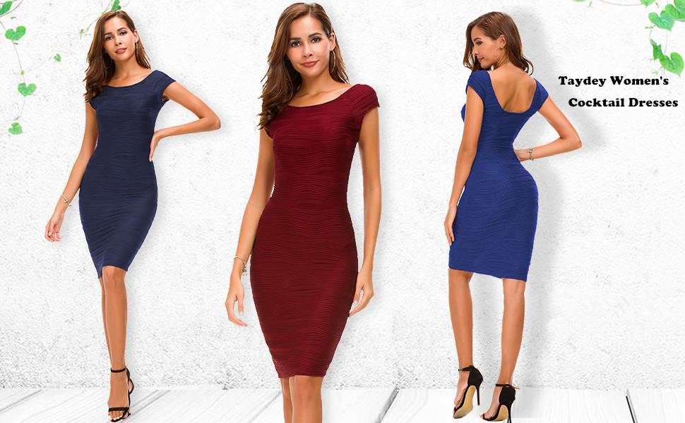 2e8df51bce7 Amazon.com  Taydey Women s Midi Dresses Sleeveless Knee Length Party ...