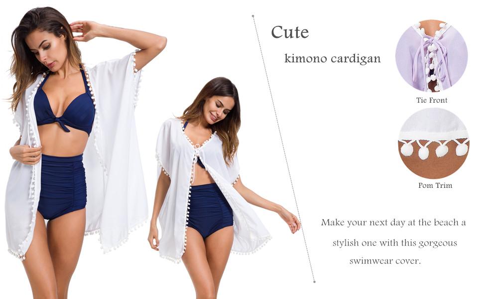 f3858bb910 Amazon.com: Taydey Women's Stylish Chiffon Tassel Beachwear Bikini ...