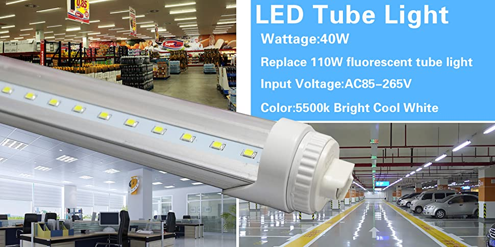 WYZM 10-Pack 40W 8ft LED Tube (R17d) Base T12 LED Tube Light ... on