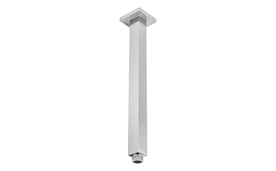 """BAI 0434 Ceiling Mounting Shower Head Arm 12"""" / Square / Brushed Nickel Finish"""