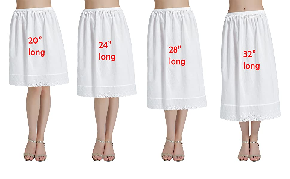 "White Ladies Womens Polyester Underskirt Waist Half Slip 24/"" 28/"" 32/"" Long"