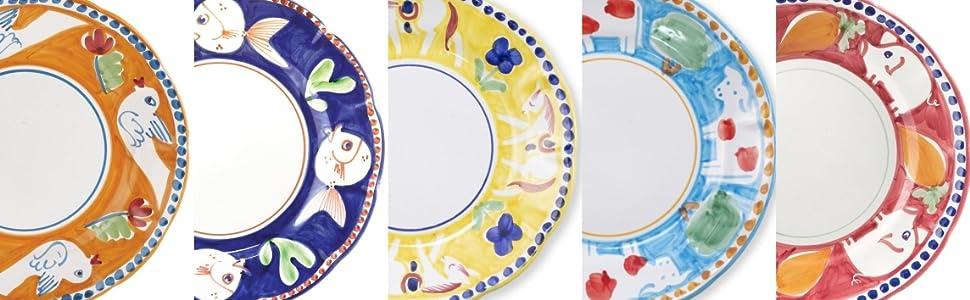 animals handpainted country colorful plates dinnerware tableware serveware kitchen ware service