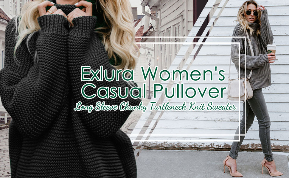 Exlura Women's Casual Long Sleeve Chunky Turtleneck Knitted Pullover Sweater