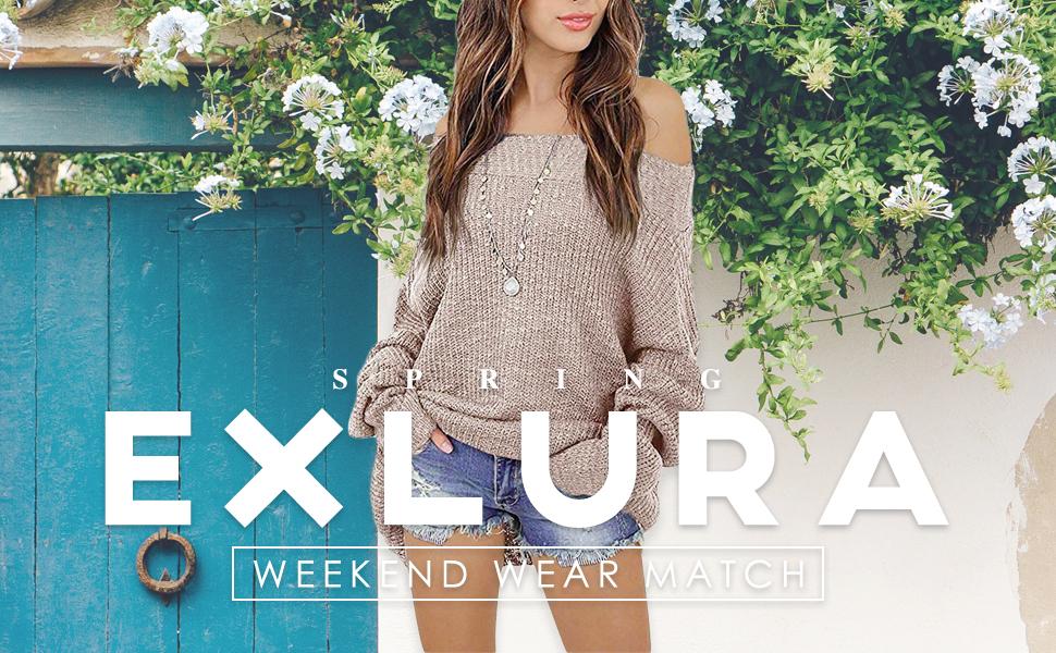 024226666016f7 Exlura Women s Off Shoulder Batwing Sleeve Loose Oversized Pullover Sweater  Knit Jumper Khaki