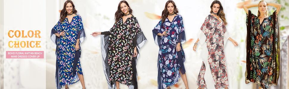 741d86e46 Exlura Women s Boho Floral Kaftan Dress Beach Tunic Long Maxi Dress Beach  Cover Up Plus Size