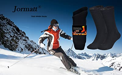 Jormatt 2 Pairs Thick Thermal Socks Insulated Heated Heavy Warm Socks For Winter Cold Weather
