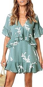 ruffle floral print casual dress