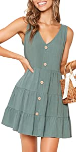 Women's Summer Sleeveless V Neck Button Down Casual Pocket Swing Short Dress