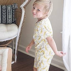 babysoy short sleeve PJS lounge set, toddler summer PJS