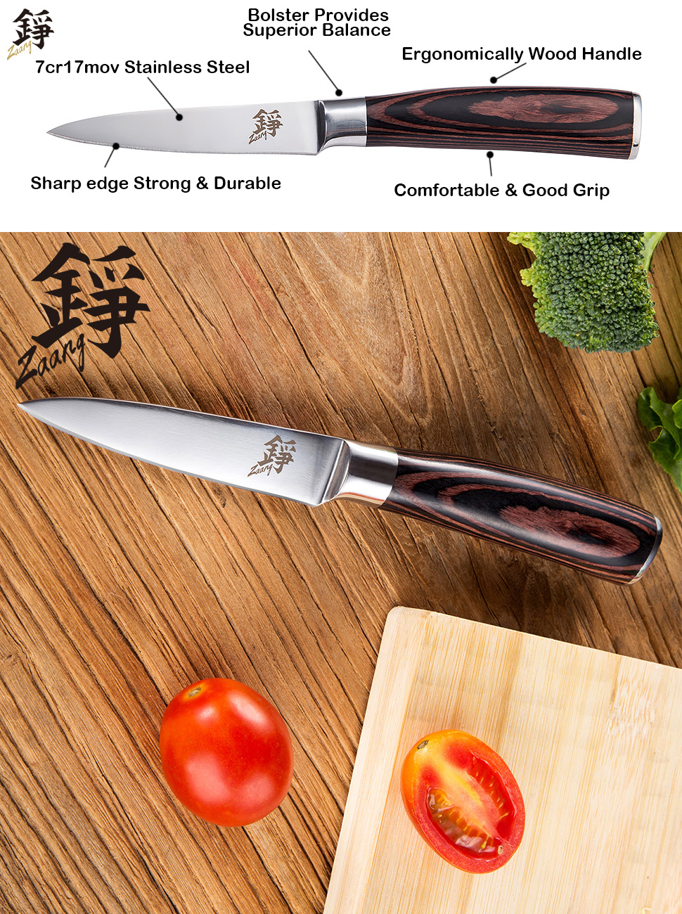 amazon com zaang paring knife 3 5 inch high carbon stainless zaang 3 5 inch paring knife perfectly controls cutting slicing and peeling