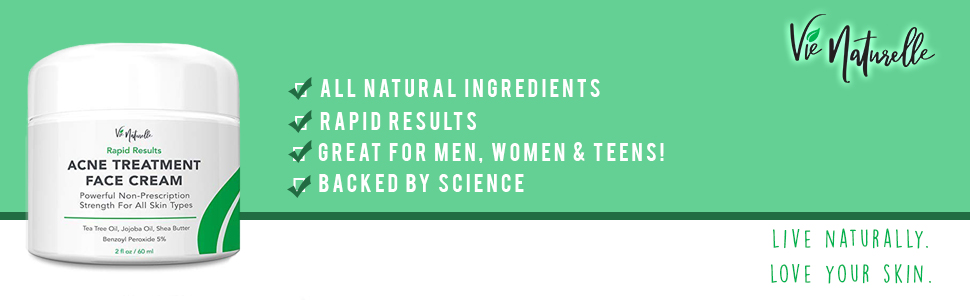 acne cream, acne treatment, benzoyl peroxide, spot treatment, jobajoba oil,  tea tree oil
