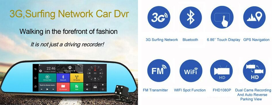 Anstar 3G Car DVR 6 86 Inch Dash Cam Android 5 0 GPS Navigation Touch  Screen Mirror Accident Recorder Dual Lens Camera Full HD 1080P Rear Parking  WIFI