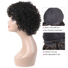 150% curly human hair wigs with bangs