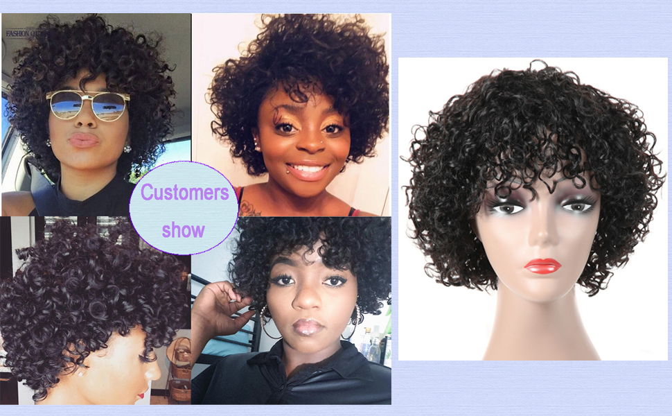 short curly human hair wig with bangs